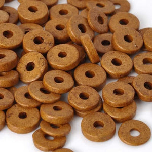 Ceramic Beads-6mm Round Disc-Brown Ochre