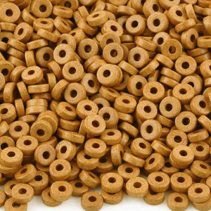Ceramic Beads-6mm Round Disc-Damask Ochre-Quantity 50