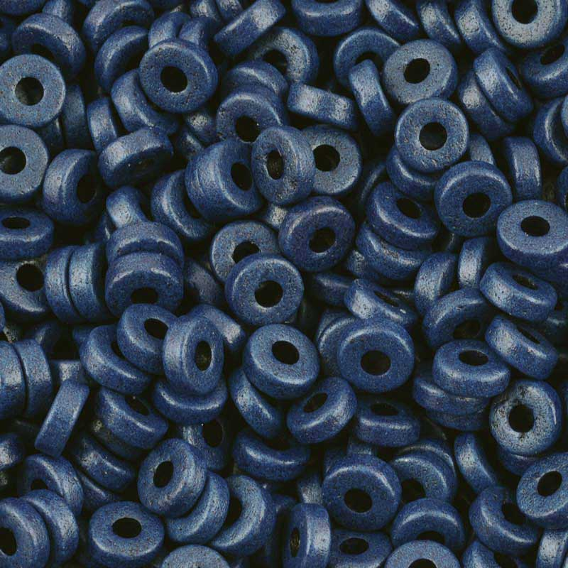 Ceramic Beads-6mm Round Disc-Indigo