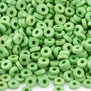 Ceramic Beads-6mm Round Disc-Lime Green