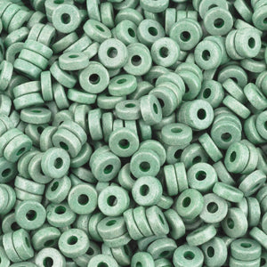 Ceramic Beads-6mm Round Disc-Sage Green