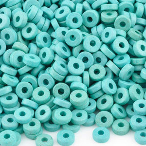 Ceramic Beads-6mm Round Disc-Turquoise