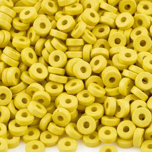 Ceramic Beads-6mm Round Disc-Yellow