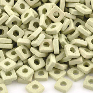 Ceramic Beads-6mm Large Hole Square Disc-Celadon