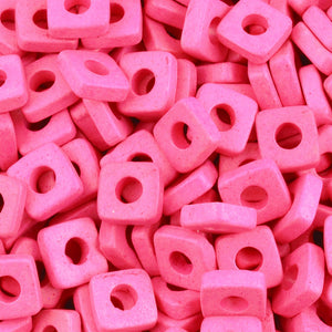 Ceramic Beads-6mm Square Disc-Fuchsia Rose