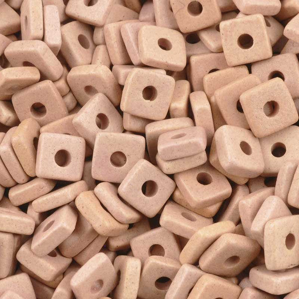 Ceramic Beads-6mm Square Disc-Sienna Pink