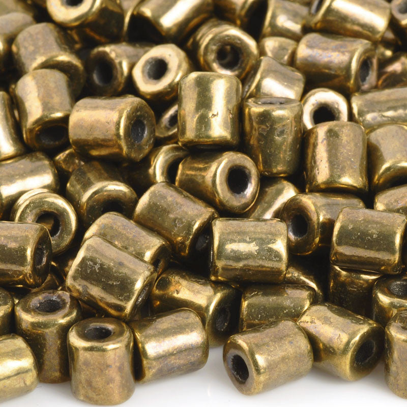 Ceramic Beads-6x5mm Tube-Antique Bronze