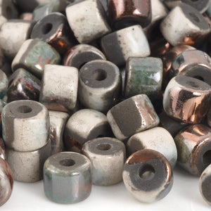 Ceramic Beads-6x8mm Tube-Raku Copper-Quantity 6