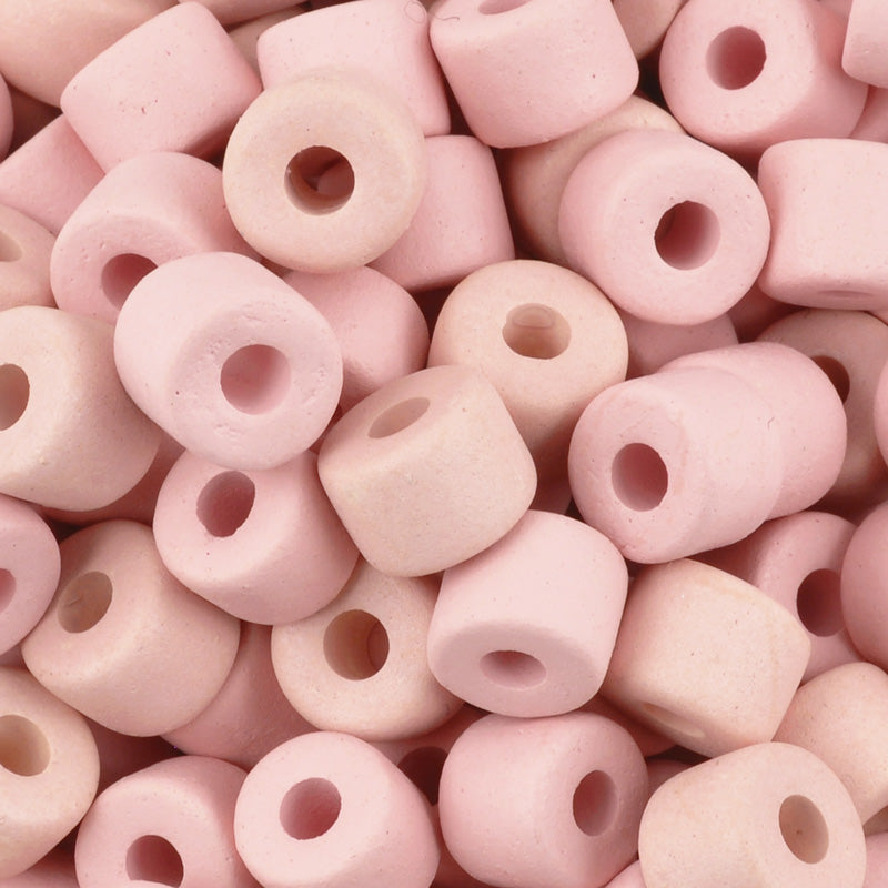 Ceramic Beads-6x8mm Tube-Rose Water-Quantity 10
