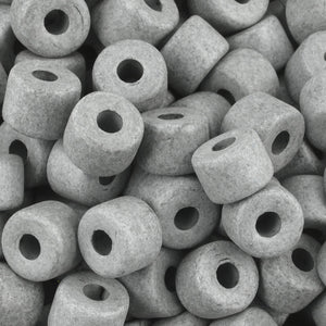 Ceramic Beads-6x8mm Tube-Taupe Grey