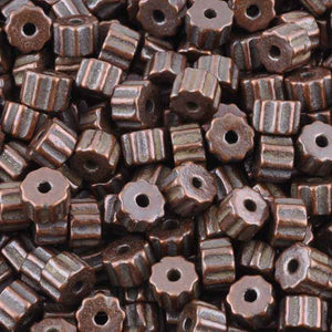 Ceramic Beads-6x9mm Ridged Tube-Antique Copper-Quantity 10