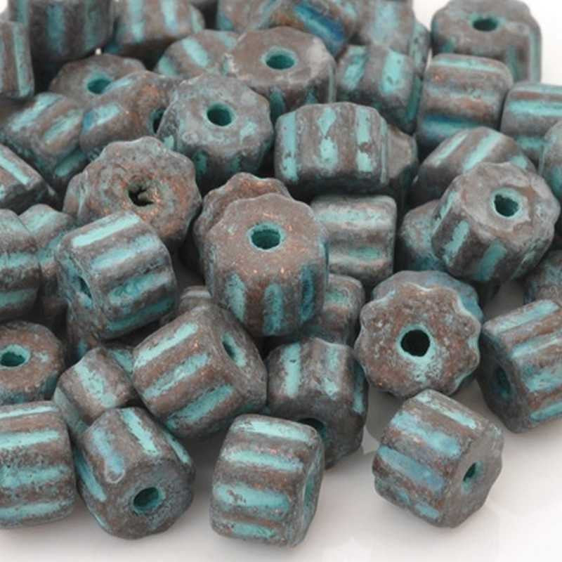 Ceramic Beads-6x9mm Ridged Tube-Green Patina-Quantity 10