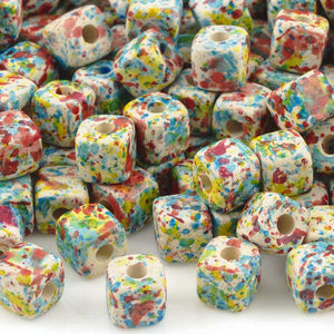 Ceramic Beads-7mm Cube-Candy Splash