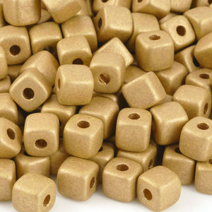 Ceramic Beads-7mm Cube-Earthy Metallic Gold