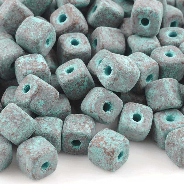Ceramic Beads-7mm Cube-Green Patina