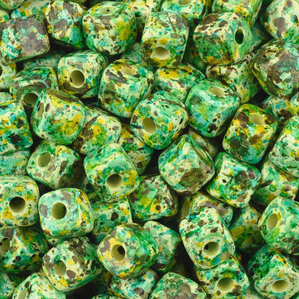 Ceramic Beads-7mm Cube-Medium Green Splash