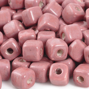 Ceramic Beads-7mm Cube-Rose