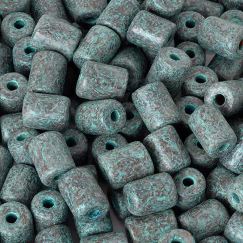Ceramic Beads-7x9mm Tube-Green Patina