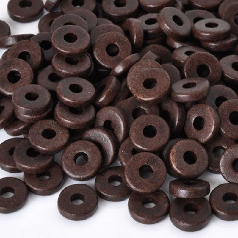 Ceramic Beads-8mm Round Disc-Burnt Umber
