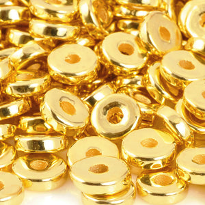 Ceramic Beads-8mm Round Disc-Gold