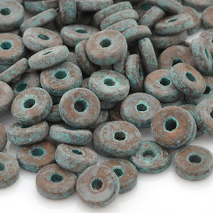 Ceramic Beads-8mm Round Disc-Green Patina