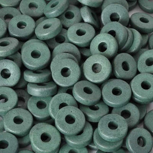 Ceramic Beads-8mm Round Disc-Sage Green-Quantity 50