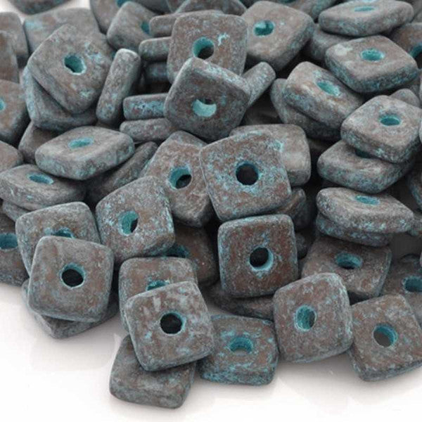 Ceramic Beads-8mm Square Disc-Green Patina