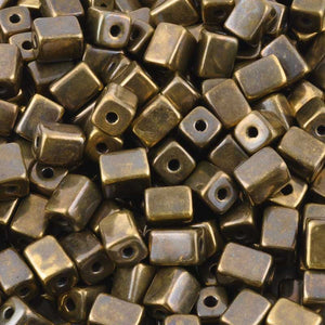 Ceramic Beads-8x10mm Rectangle Tube-Antique Bronze-Quantity 2