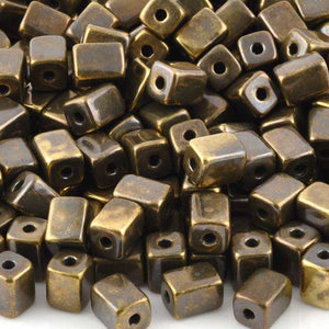 Ceramic Beads-5x8mm Rectangle Tube-Antique Bronze