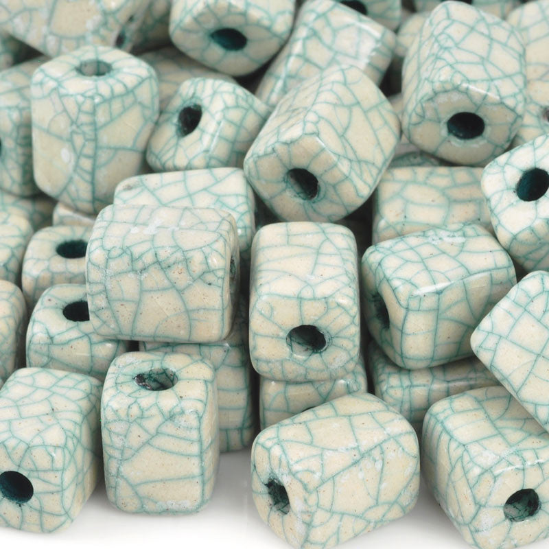 Ceramic Beads-8x10mm Rectangle Tube-Antique Turquoise