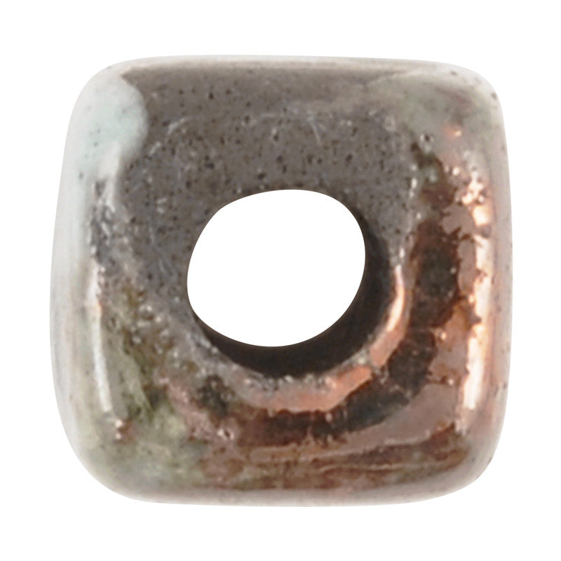 Ceramic Beads-8x10mm Rectangle Tube-Blue Raku