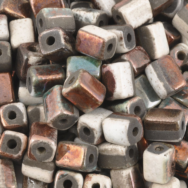 Ceramic Beads-8x10mm Rectangle Tube-Copper Raku
