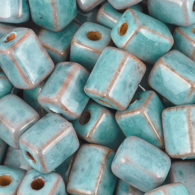 Ceramic Beads-8x10mm Rectangle Tube-Stone Turquoise