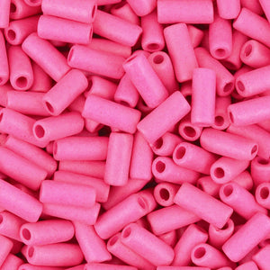 Ceramic Beads-8x4mm Tube-Fuchsia Rose