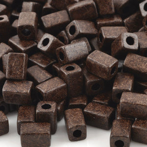Ceramic Beads-8x5mm Rectangle Tube-Burnt Umber