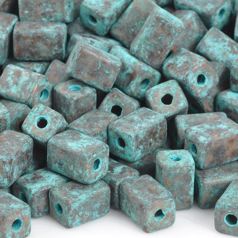 Ceramic Beads-8x5mm Rectangle Tube-Green Patina