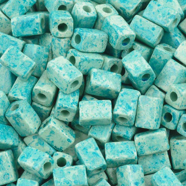 Ceramic Beads-8x5mm Rectangle Tube-Seafoam Splash