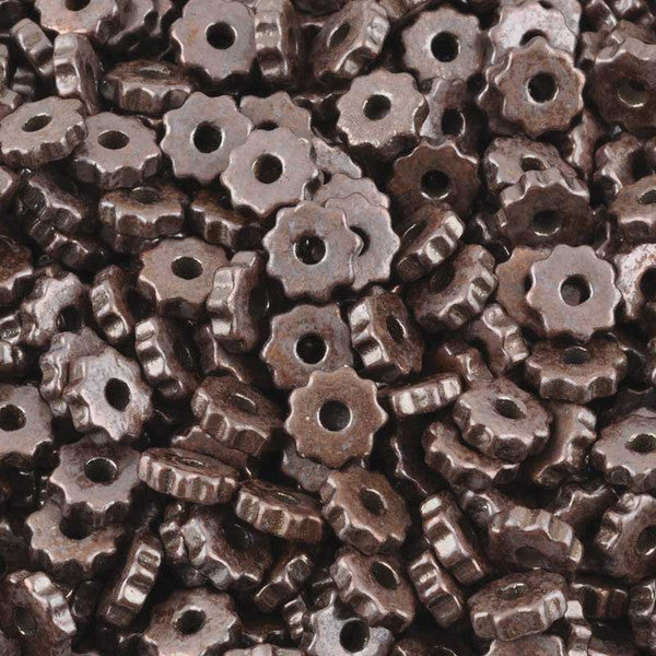 Ceramic Beads-9mm Ridged Disc-Antique Copper