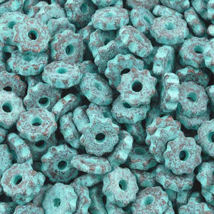 Ceramic Beads-9mm Ridged Disc-Green Patina