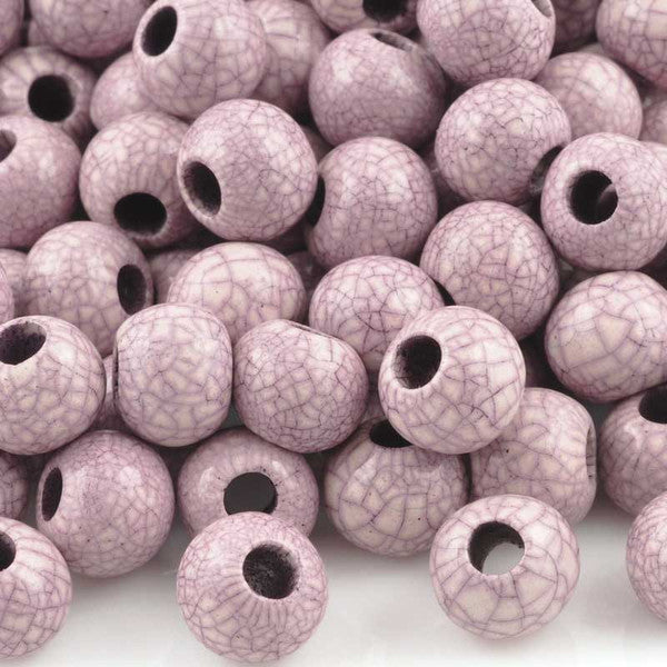 Ceramic Beads-9mm Round-Antique Purple