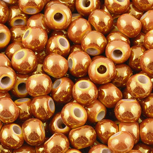 Ceramic Beads-9mm Round-Iridescent Ochre
