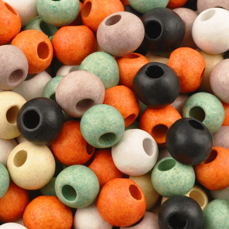 Ceramic Beads-9mm Round-Multi Bisque Mix-Quantity 10
