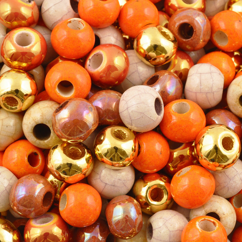 Ceramic Beads-9mm Round-Multi Enamel Mix-Quantity 5