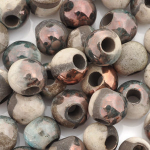 Ceramic Beads-9mm Round-Raku Copper