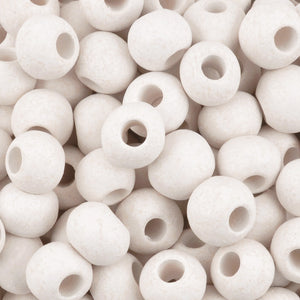 Ceramic Beads-9mm Round-White-Quantity 5
