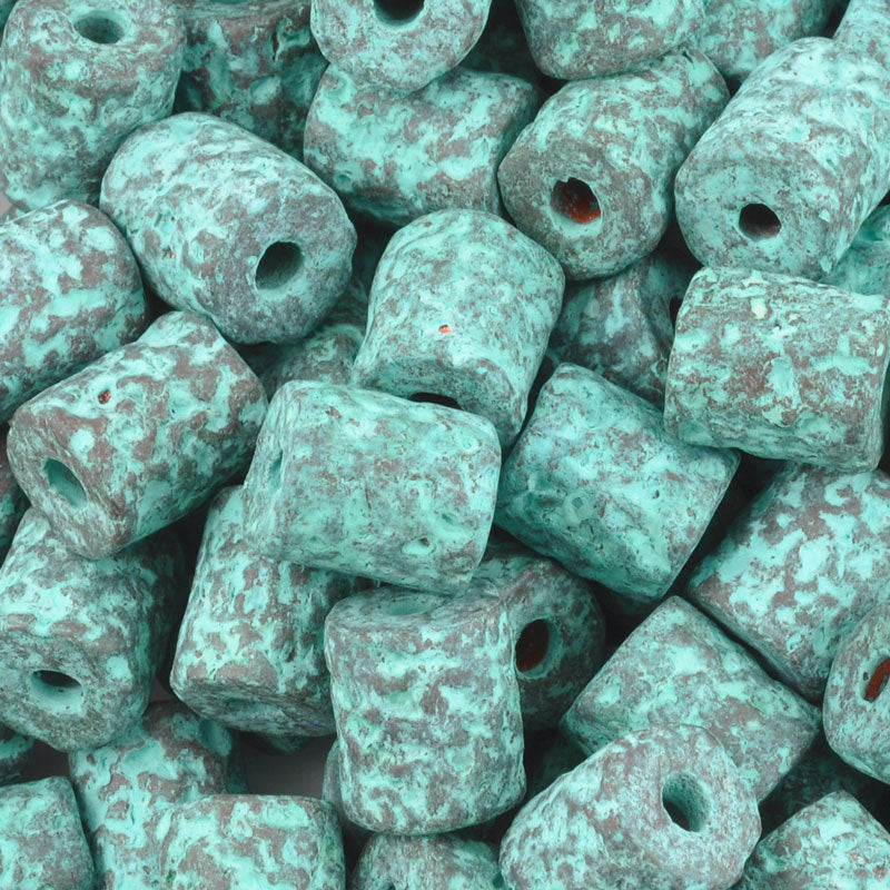Ceramic Beads-9x8mm Coarse Tube-Green Patina