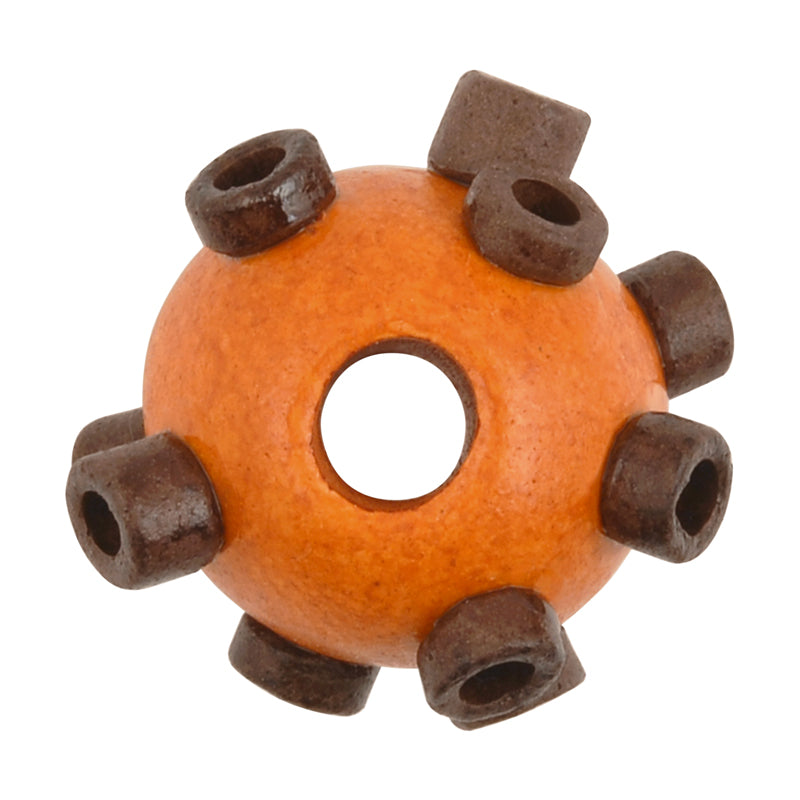 Ceramic Beads-Avante Garde Picasso-15x10mm Large Hole Abstract Round-Burnt Tangerine-Quantity 1