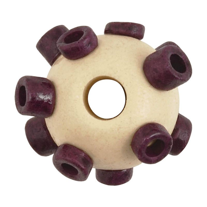 Ceramic Beads-Avante Garde Picasso-15x10mm Large Hole Abstract Round-Stone Eggplant-Quantity 1