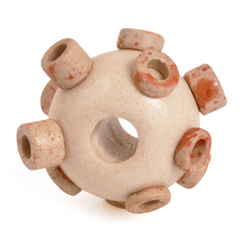 Ceramic Beads-Avante Garde Picasso-15x10mm Large Hole Abstract Round-Stone Pink-Quantity 1