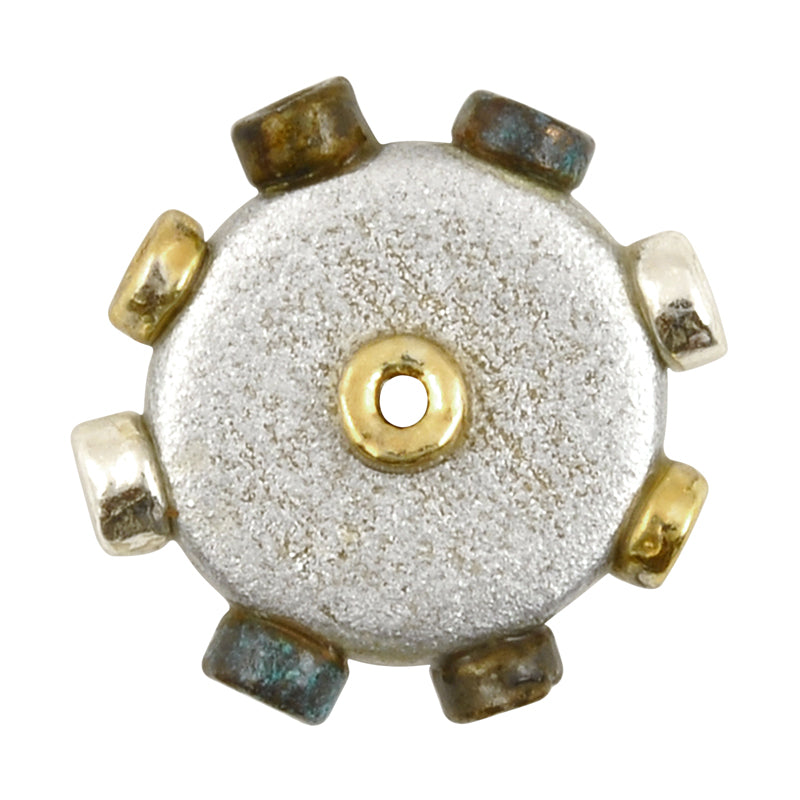 Ceramic Beads-Avante Garde Picasso-18mm Abstract Round Disc-Multi Metals-Quantity 1
